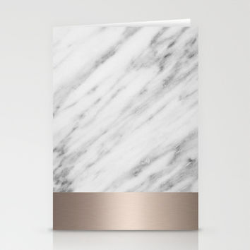 Carrara Italian Marble Holiday White Gold Edition Stationery Cards by cafelab