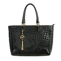 Gianni Versace Leather Black Women's Handbag Shoulder Bag