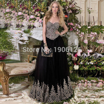 Modest Black Prom Dress With Gold Appliques Sweetheart Long Lace Evening Gown Rhinestones Bandage Vestido de formatura longo