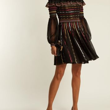 Off-the-shoulder silk-blend dress | Alexander McQueen | MATCHESFASHION.COM US