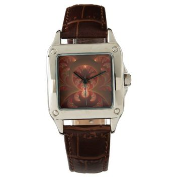 Luminous abstract modern orange red Fractal Wristwatch