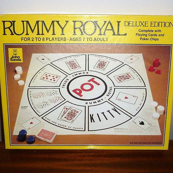 Vintage 1981 Rummy Royal Deluxe Poker Edition with Playing Mat, Playing Cards and Poker Chips by John Sands Games / Retro Board Games