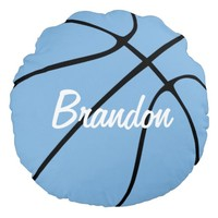 Carolina Blue Custom Round Basketball Pillow
