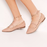 Missguided - Studded Strap Flat Shoes Nude