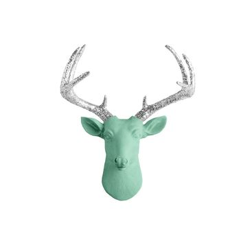 The Mini Virginia | Deer Head | Faux Taxidermy | Mint Green  + Silver Glitter Antlers Resin