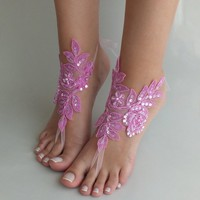 Beach wedding barefoot sandals pink lace shoes beach shoes bangle beaded lace anklets lace sandals bridal accessory