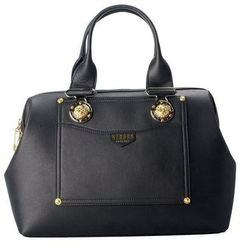CREYONDB Versace Versus 100% Leather Black Women's Handbag Bag