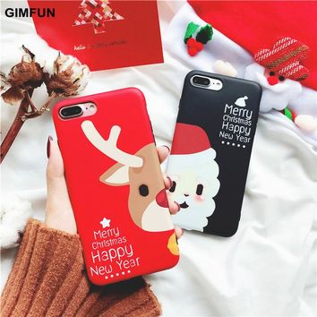Gimfun Christmas Gift Cute Cartoon Phone Case for Iphone X Soft Tpu Silicone Case for Iphone 6 6s 6plus 7 7plus 8 Back Cover