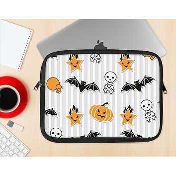 The Halloween Icons Over Gray & White Striped Surface  Ink-Fuzed NeoPrene MacBook Laptop Sleeve