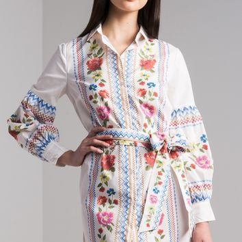 AKIRA Long Bishop Sleeve Button Down Printed Floral Mini Shirt Dress in Cream