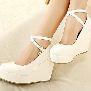 Sexy Ball Girls Platform Pumps Wedge Thick High Heels Ankle Strap Shoes 3 color