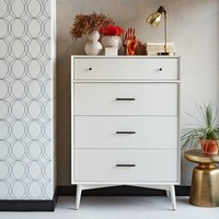 Mid-Century 4-Drawer Dresser - White