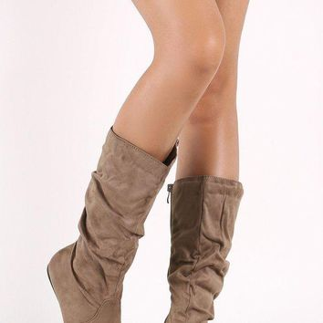 DCK7YE Suede Slouchy Round Toe Mid Calf Flat Boots