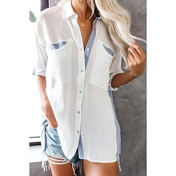 White Blue Friday At Five Striped Contrast Button Down Shirt