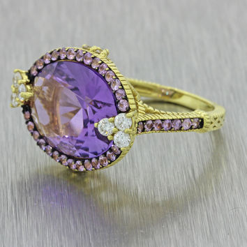 Judith Ripka 18k Solid Yellow Gold Amethyst .42ctw Pink Sapphire Diamond Ring