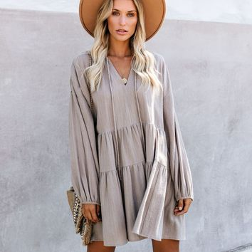 From Autumn To Spring Cotton Babydoll Dress - Vintage Olive