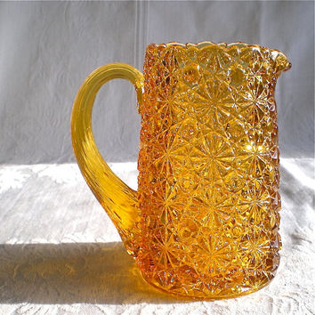 Fenton Pitcher, Amber Glass, Daisy Button Pattern, Fenton Glass, Creamer, Yellow
