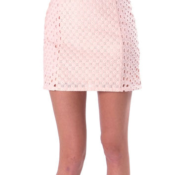 Mercy Eyelet Lace Mini Skirt - Pink