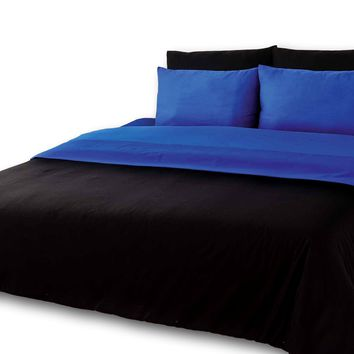 Tache 6 Piece Deep Blue and Black Reversible Comforter Set