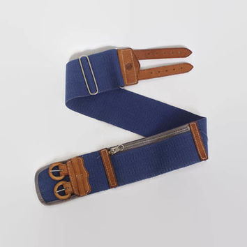 Vintage 50s MONEY Belt / 1950s Bright Blue & Brown Leather Zippered Pocket Belt