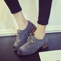 Summer Vintage Round-toe England Style Suede Shoes [8865165004]