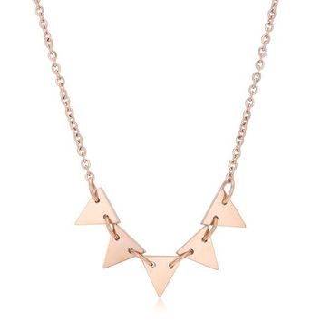 Trisha Rose Gold Stainless Steel Triangle Necklace