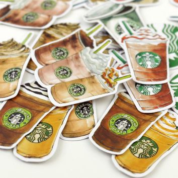Coffee Sticker for Starbucks Notebook Diary Decorative Lebel Stickers Stationery Stickers School Office Supplies 25Pcs/bag