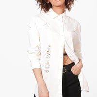 Ellie Oversize Distressed Denim Shirt | Boohoo