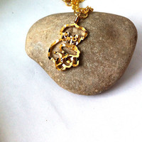 Vintage Laser cut golden koala pendant necklace, gifts for girls, gifts for her, koala necklace