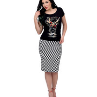 Black & White High Waisted Checkered Knit Fitted Pencil Skirt