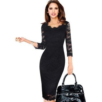 Womens Elegant Lace See Through 3/4 sleeve Slim Casual Party Evening Special Occasion Pencil Sheath Bodycon Dress 269