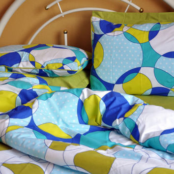 Custom Queen or Full Size Green, Sapphire Blue, Turquoise Blue Circle Print Duvet Cover Set, Green Sheet Set, 3 pieces