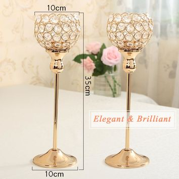 2PCs 35cm Tall Crystal Candle Holder Metal Silver Candlestick Home Decor Table Centerpieces Candelabra