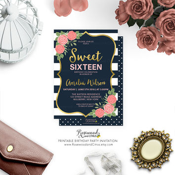 Printable Sweet Sixteen Invite, Floral  Sweet 16 Birthday Party, Printable Sweet 16 Invitation, Printable Birthday, Sweet Sixteen Invitation