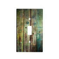 Rustic Country Green and Yellow Distressed Wood Light Switch Plate