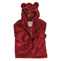 YOUTH Silky Pile Pullover Teddy Bear in Red by True Grit
