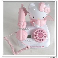 Hello Kitty Rotary Push Button Integrate Corded Telephones Home Phones Kids'
