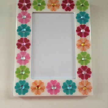 Floral Rhinestone Picture Frame, 4x6