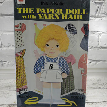 Vintage Paper Doll with Yarn hair Katie 1970s sealed Un opened Un cut box childrens toy from Whitman