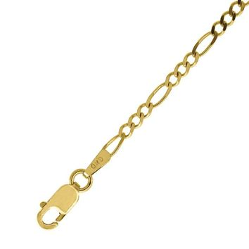 Polished 1mm Figaro Chain Bracelet or Necklace in Solid & Real 10k Yellow Gold