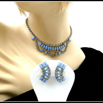 Baby Blue Rhinestone Choker & Earrings Set, Opaque Blue Baguettes, Blue Necklace, Blue Earrings, Bridesmaid Set New Years Eve, Gift for Her