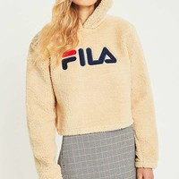 FILA Cream Cropped Teddy Hoodie | Urban Outfitters