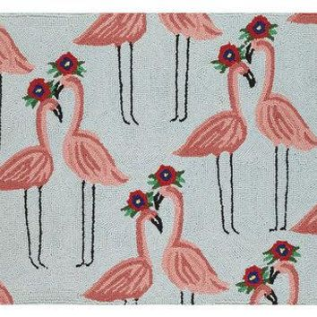 FLORAL FLAMINGO HOOK RUG 2X3 FT