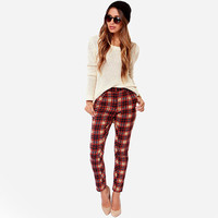 European Style Women New Fashion Slim Thin Retro Classical Plaid Pencil pants Casual Thin Pants D959