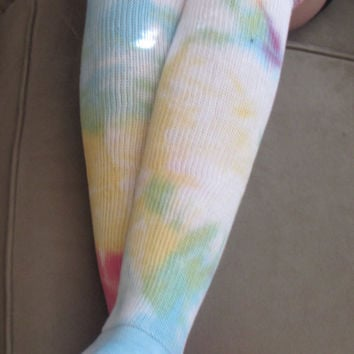 Size 8-11 Colorful Tie Dyed Thigh High Socks
