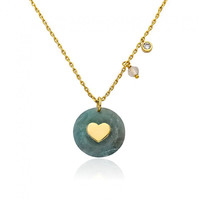 GEM STONE BY LMTS Aquamarine Heart Gem Stone Childrens Teen CUTE Necklace