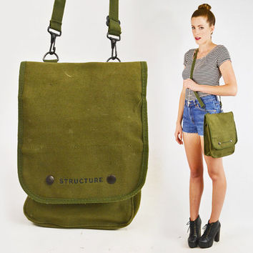 vintage 90s green ARMY CROSS BODY purse / army cross body bag / 90s army messenger bag / army cross body messenger bag / 90s grunge purse