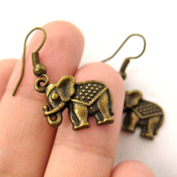 Small Elephant Shaped Dangle Earrings in Brass with Textured Detail | DOTOLY