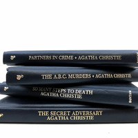 Agatha Christy Mystery Novels / Vintage Books / Decorative Books / Instant Library / Library Filler / Home Decorating