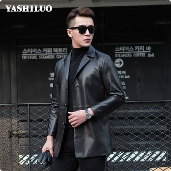 New Korean Style Slim Fit Mens Casual Sheepskin Real Leather Blazer Long Turn Down Jackets Chaqueta De Cuero Hombre Blouson Moto